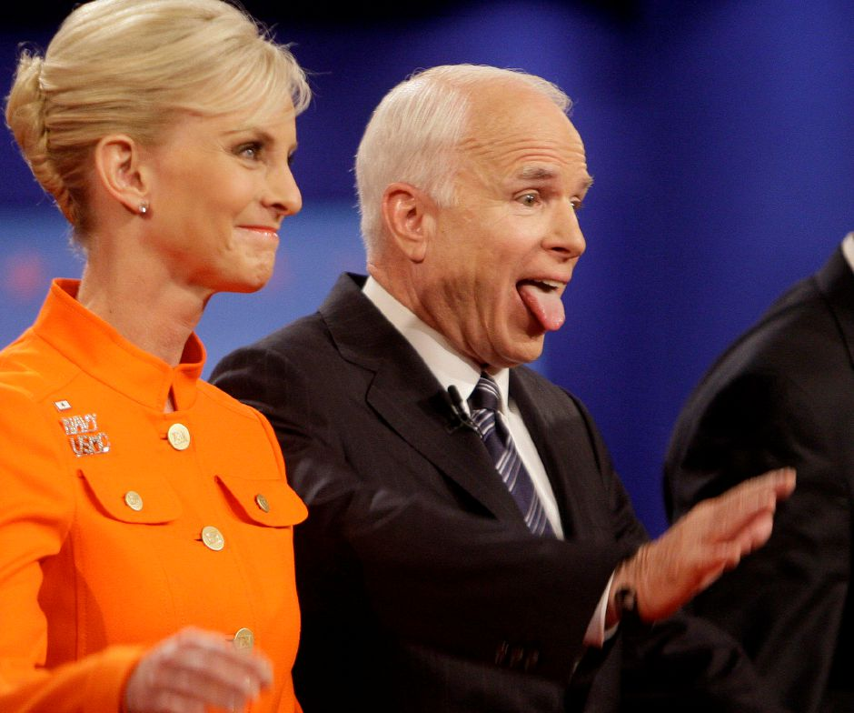 a presidential debate at Hofstra University in Hempstead, N.Y., Wednesday, Oct. 15, 2008. (AP Photo/Seth Wenig)