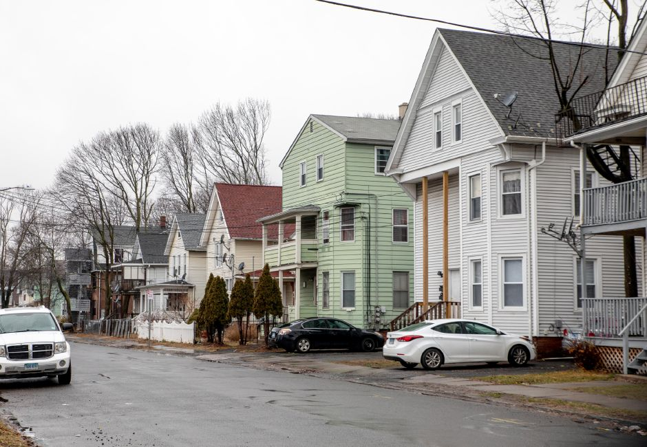 Meriden Police responded to a report of a pedestrian being shot in front of 110 Sherman Ave. near the intersection with Warren Street on Feb. 13, 2020. | Devin Leith-Yessian/Record-Journal