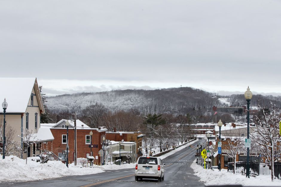 Clouds begin to break up in the west from Center Street in Wallingford Thursday during a winter storm clean-up March 8, 2018 | Justin Weekes / Special to the Record-Journal