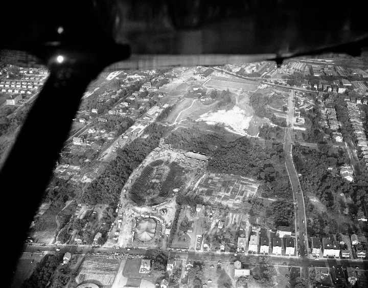 An aerial view of circus disaster area, shown July 6, 1944. One tent is still standing, background where big tent burned. (AP Photo)