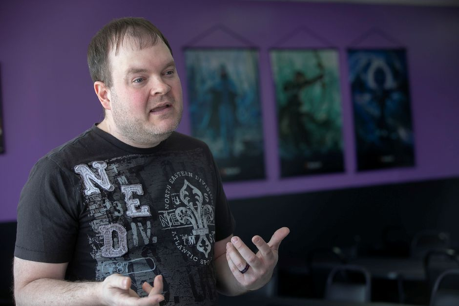 Eric DeVeau, co-owner of The Raven's Nest, talks about the new business located in the plaza at 2211 Meriden-Waterbury Turnpike, Southington, Wed., Feb. 19, 2020. The shop opens March 1 and is looking to be the area home for tabletop games such as Warhammer 40,000, Pokémon, X-Wing and Dungeons & Dragons. Dave Zajac, Record-Journal