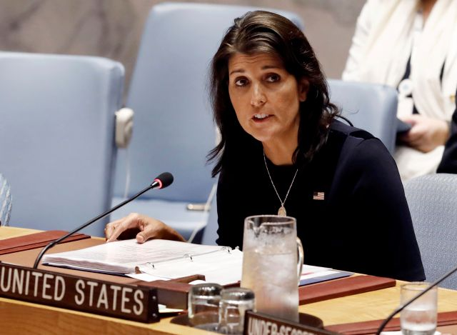 FILE - In this Sept. 17, 2018 file photo, U.S. Ambassador Nikki Haley addresses the United Nations Security Council at U.N. headquarters. (AP Photo/Richard Drew)