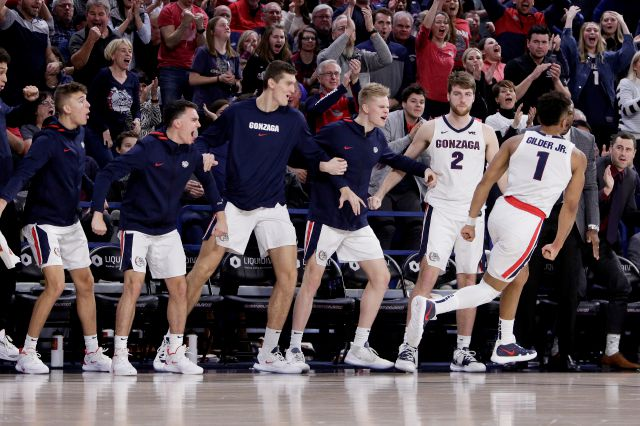 The Gonzaga bench reacts after guard Admon Gilder (1) dunked during the second half of the team