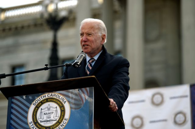 Former Vice President Joe Biden speaks at a Dr. Martin Luther King Jr. Day rally Monday, Jan. 20, 2020, in Columbia, S.C. (AP Photo/Meg Kinnard)