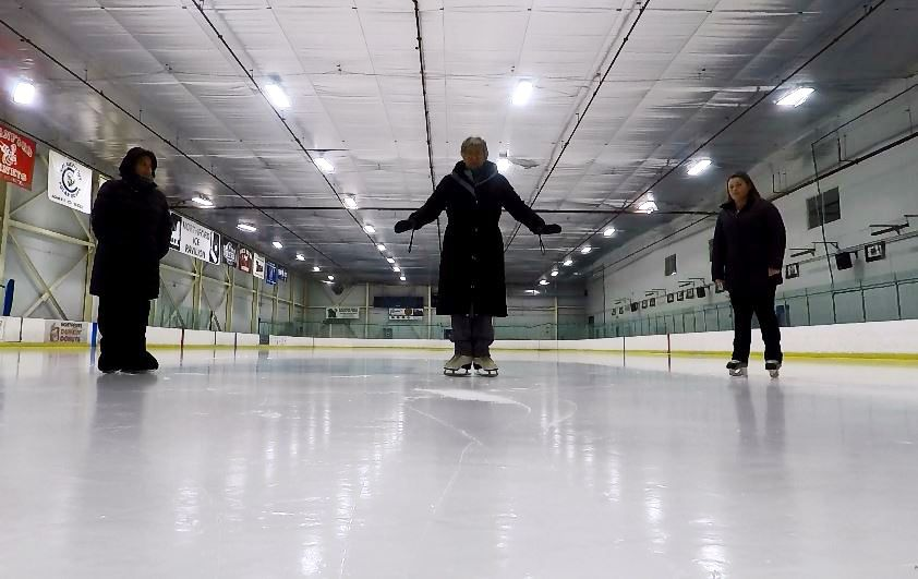 Ann Buccino-Katz, director of the Learn to Skate program, Mary Anne Ferro, a skating instructor, and Sydney Hogan, a skating instructor, skate at Northford Ice Pavilion, 24 Firelite Place, Northford, Thursday, Jan. 3, 2019. | Ashley Kus, Record-Journal