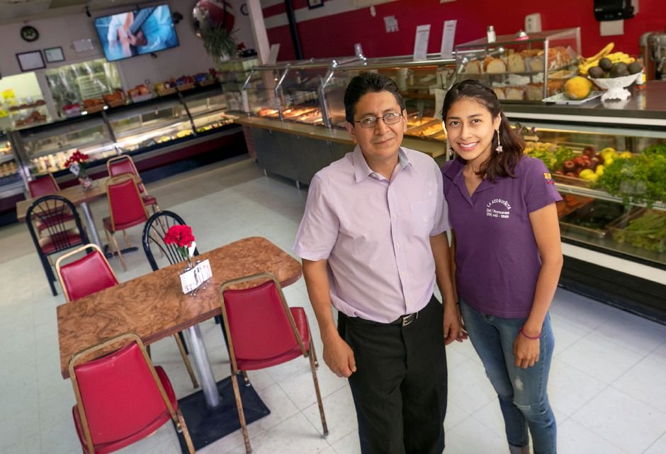 Stephanie Guartan and father Jose at their La Azogueñita Deli & Restaurant, 448 Center St., Meriden, Fri., Aug. 14, 2020. The family is opening a second location, La Azogueñita Deli & Juice Bar at 211 S. Colony Rd. in Wallingford on August 23. Dave Zajac, Record-Journal