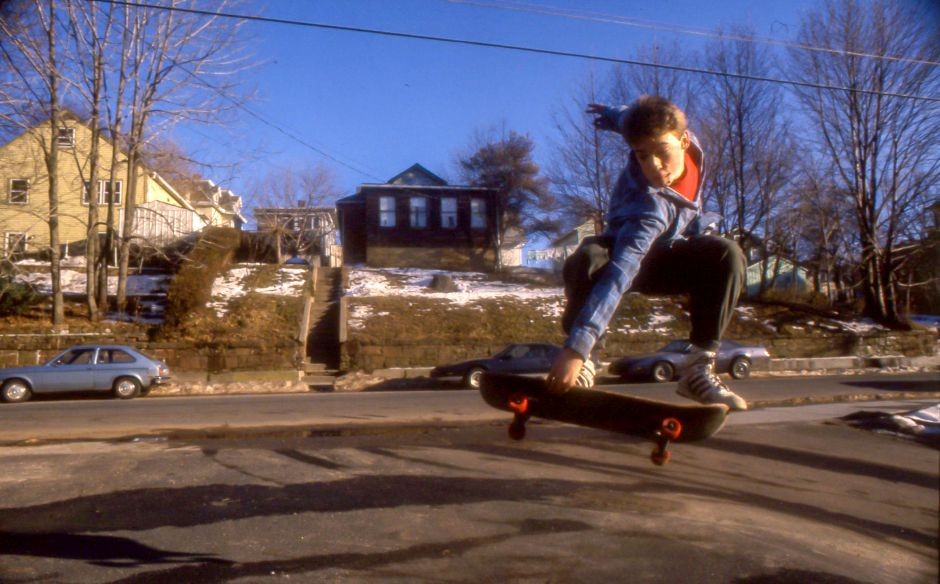 RJ file photo - Rick Pelletier, 15, practices some jumps along South Colony Street in Meriden, Jan. 1990.