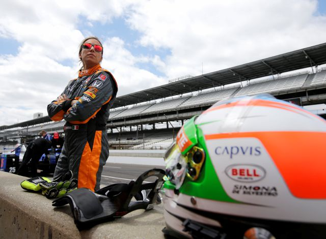 FILE - In this May 12, 2015, file photo, driver Simona de Silvestro, of Switzerland, watches during practice for the Indianapolis 500 auto race at Indianapolis Motor Speedway in Indianapolis. Beth Paretta and Simona de Silvestro will be teaming up to put another woman on the Indianapolis 500 starting grid this May. On Tuesday, Jan. 19, 2021, Paretta Autosport and IndyCar officials announced they would work together to put a predominantly women-run team in the series
