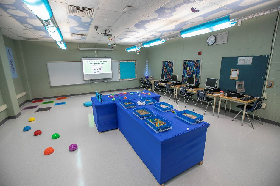 The Sage Room, a new mindfulness space at Benjamin Franklin Elementary School in Meriden, Fri., Feb. 21, 2020. The room encourages emotional regulation through the act of play, promotes a relaxing sensory experience and decreases stress and anxiety. Dave Zajac, Record-Journal