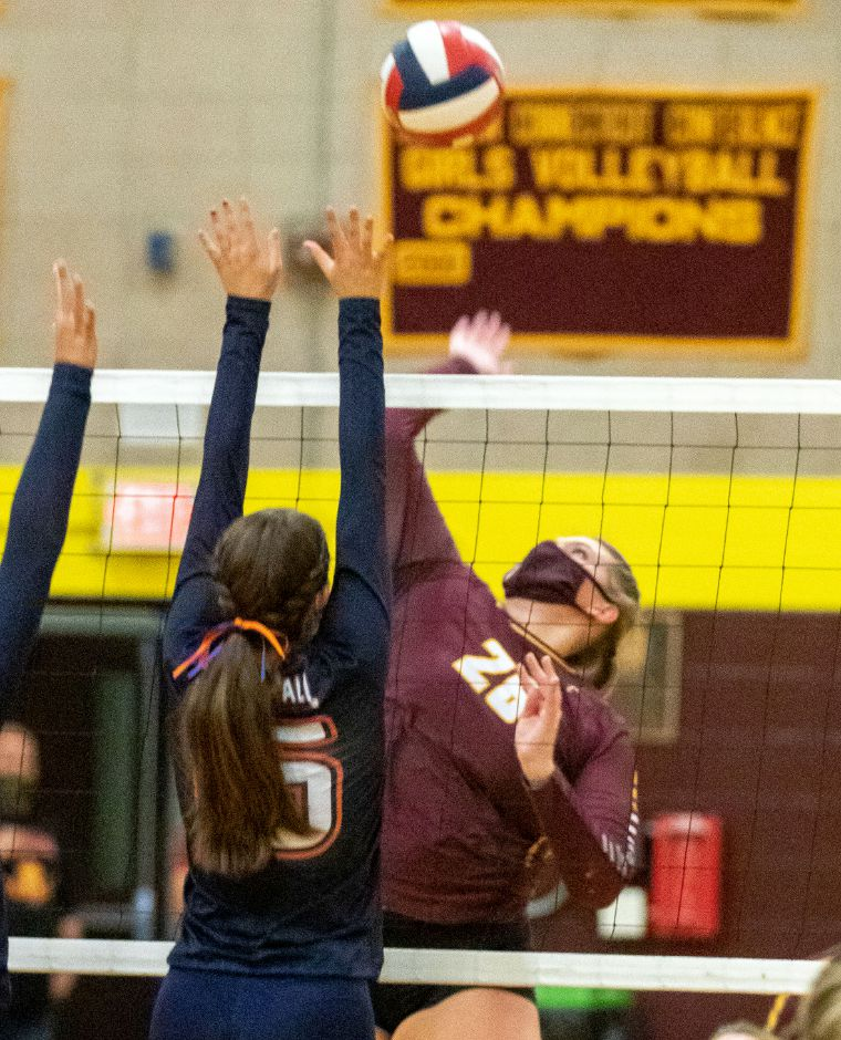Sheehan's Caitlyn Hunt gets ready to spike the ball past Lyman Hall's Macenzie Regan at Sheehan High School on Friday, October 2, 2020. Aaron Flaum, Record-Journal