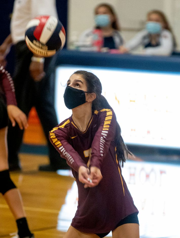 Sheehan's Kaylee Salas bumps the ball against Lyman Hall Thursday night during a girls volleyball match at Lyman Hall High School in Wallingford. Aaron Flaum, Record-Journal