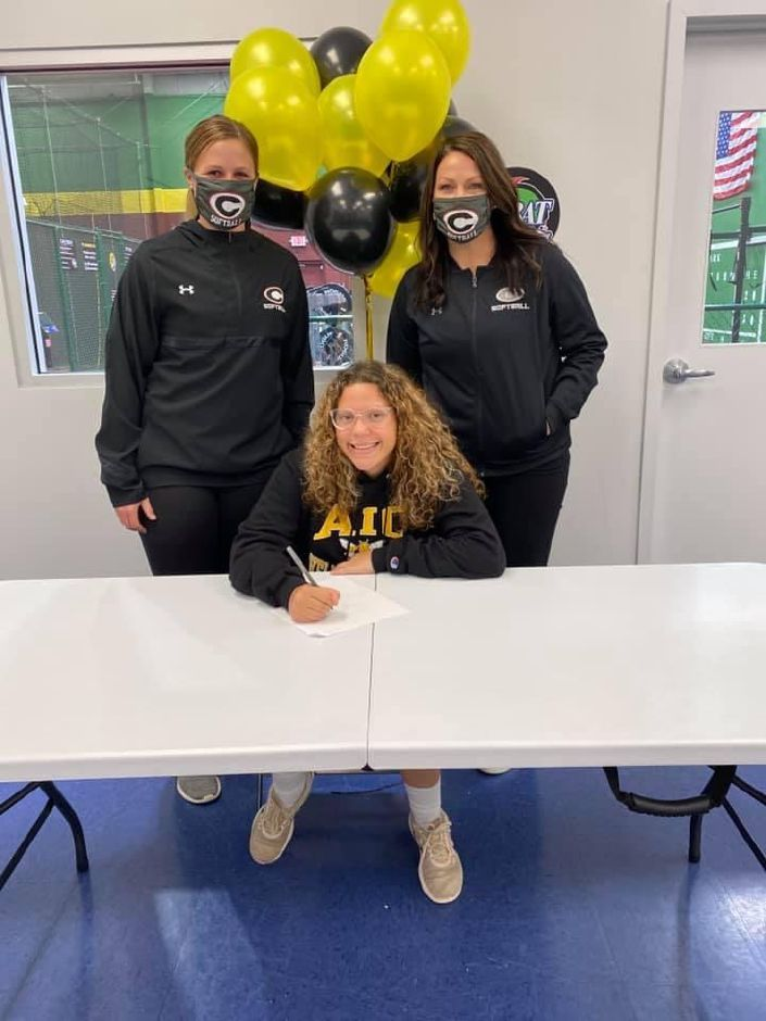 Cheshire High School senior Trinadey Santiago has signed to play softball at American International College. First, she looks forward to competing for CHS Assistant Jaymie Sommers (left) and Head Coach Kristine Drust (right) next spring. Submitted photo
