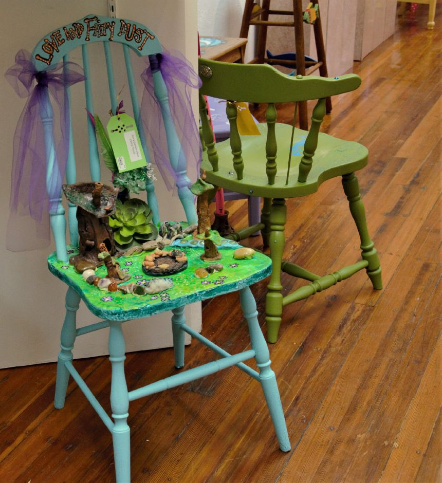 Specialty chairs designed by local artists on sale at Galley 53 and South Meriden Lions Club's 11th annual wine tasting and CHAIR-ity event Friday, April 12th, 2019. | Maxine Philavong, Special to the Record Journal.