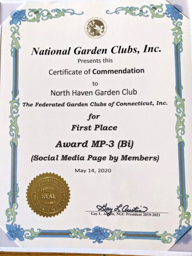 At left, National Garden Clubs Inc. certificate.
