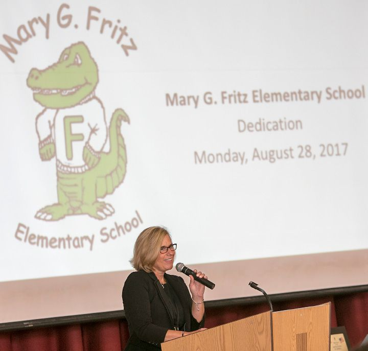 Mary Poisson, principal of Mary G. Fritz Elementary School, speaks during the school