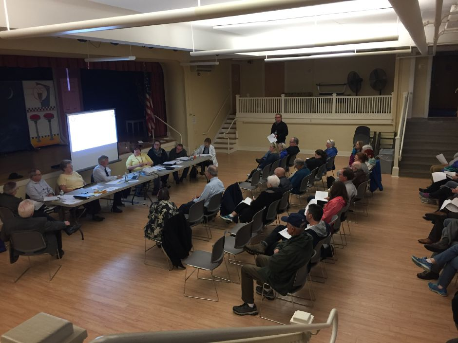 Some 30 Middlefield residents gathered at the community center, 405 Main St., on May 13 to vote on the Board of Finance