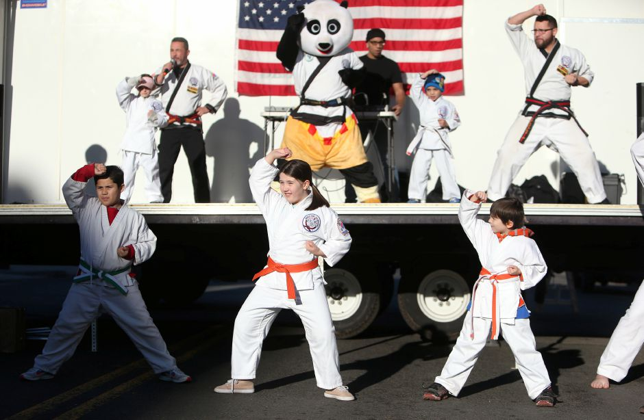 Students of the Valentin Karate school demonstrate their skills at the annual Yulefest in Meriden on Saturday, Nov. 30, 2019. Emily J. Tilley, special to the Record-Journal.