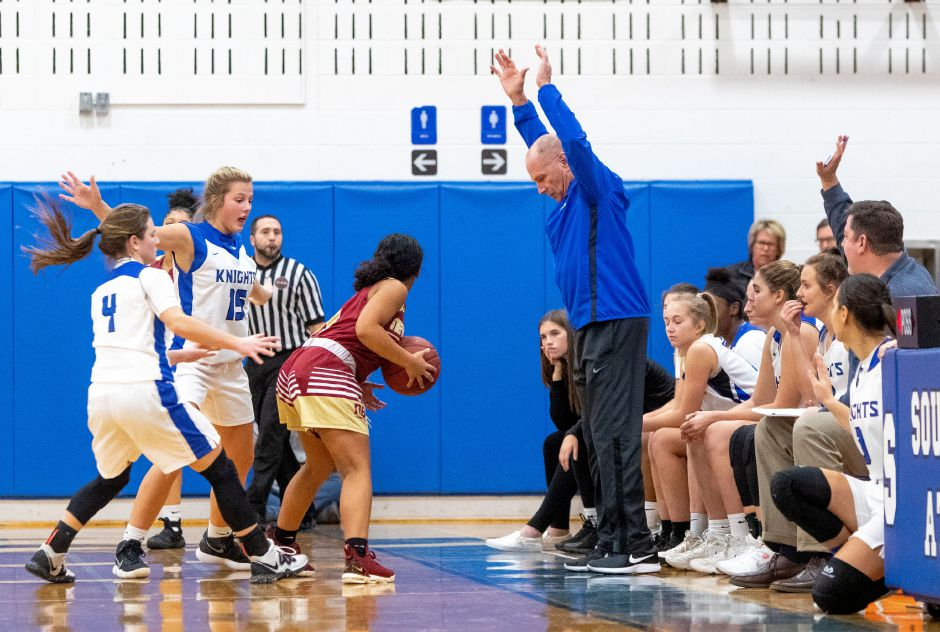 Southington girls basketball coach Howie Hewitt saw his Lady Knights avenge their lone loss of the season in Tuesday night's 38-24 win over Hall. | Aaron Flaum, Record-Journal