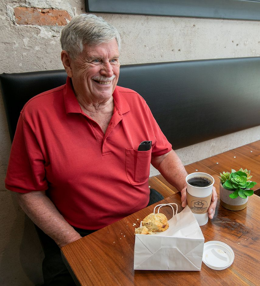 Rich McDonough, of Southington, enjoys a coffee and pastry at the new Southington Coffee House, 51 N. Main St. in Southington, Thurs., Aug. 15, 2019. Dave Zajac, Record-Journal
