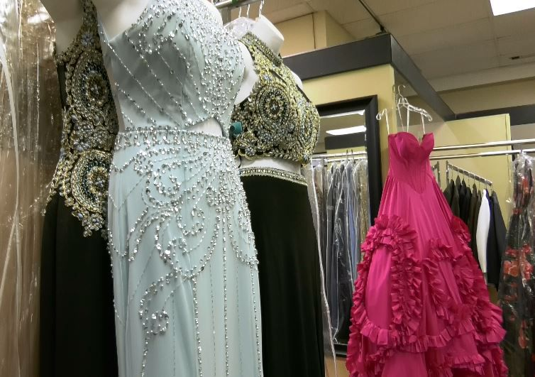 Prom dresses displayed at Dynamite Designs by Kristen, 1157 N. Colony Rd. |Ashley Kus, Record-Journal