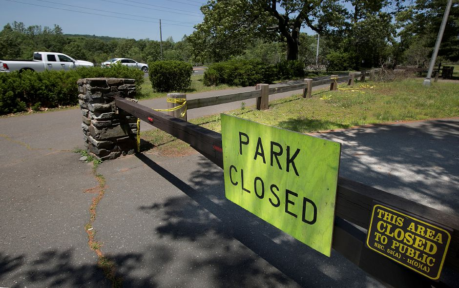 Wharton Brook State Park remains closed, Tuesday, June 12, 2018. Teams from the Federal Emergency Management Agency visited Wallingford Tuesday morning to survey the damage from the May 15 storm. Dave Zajac, Record-Journal