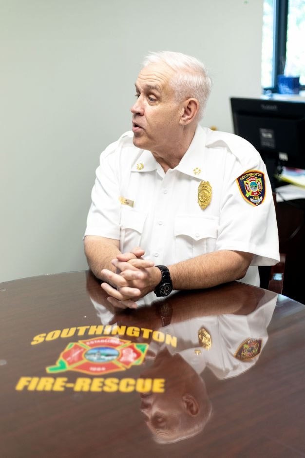 Southington Fire Chief Richard Butler speaks in his office on Sept. 6, 2018. | Devin Leith-Yessian/Record-Journal