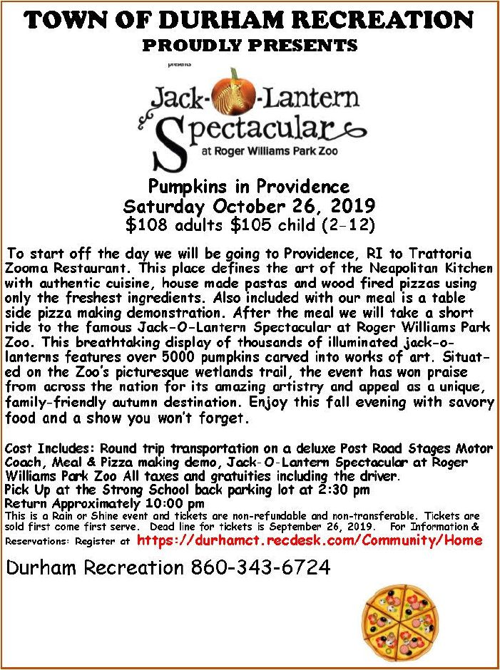 Flyer for the Jack-o-Lantern Spectacular hosted at Roger Williams Park Zoo. Photo courtesy of Sherry Hill, Durham recreation.