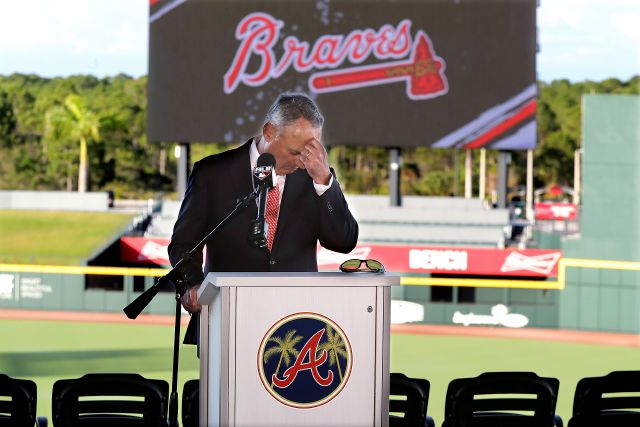 Baseball commissioner Rob Manfred pauses before answering a question about the Houston Astros, during a news conference at the Atlanta Braves