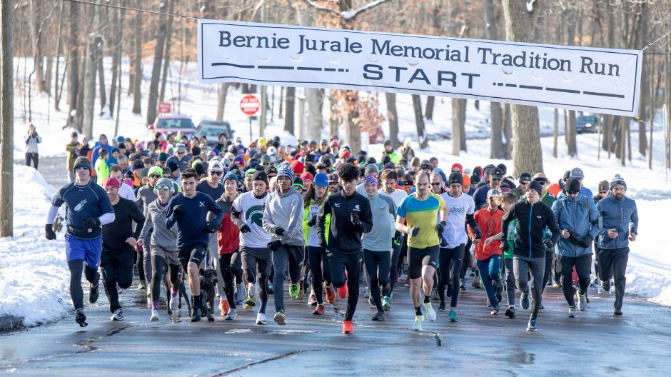 Runners in the Bernie Jurale Memorial Tradition Run take off from the starting line at Hubbard Park in Meriden on Jan. 19, 2020.  Devin Leith-Yessian, Record-Journal file photos