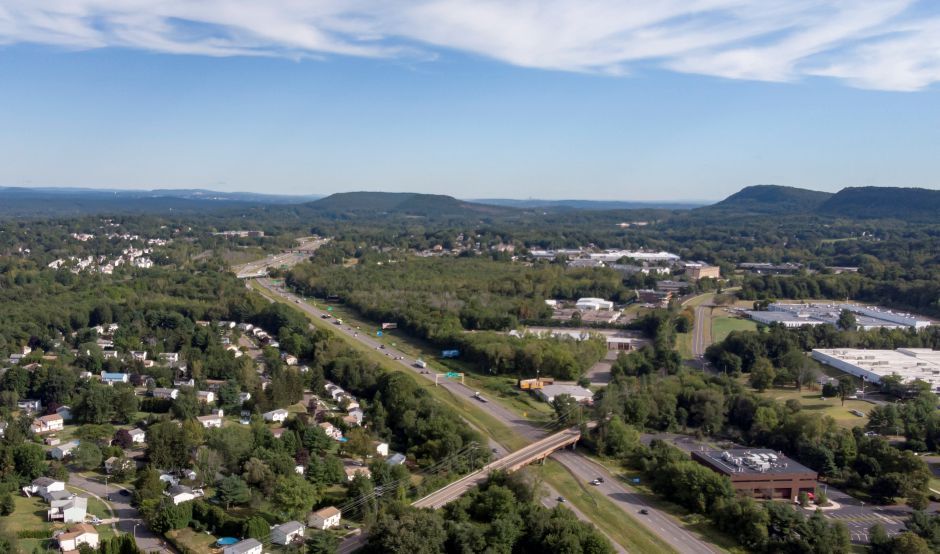 Interstate 91 looking north towards East Main Street in Meriden and the Interstate 691/Route 15 interchange Sept. 5, 2019. | Richie Rathsack, Record-Journal