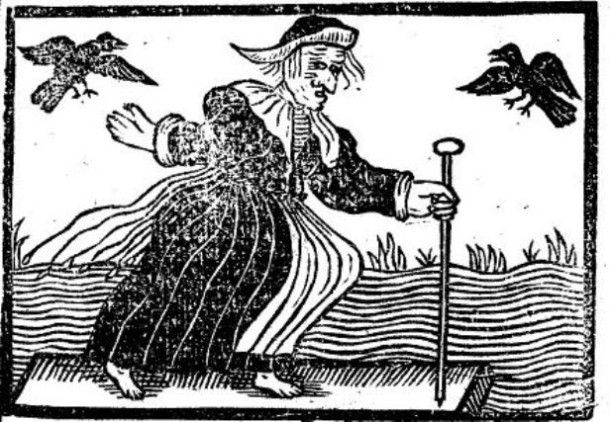 "Witches were depicted in a number of ways during the 17th century, usually accompanied by small animals referred to as ""familiars."""