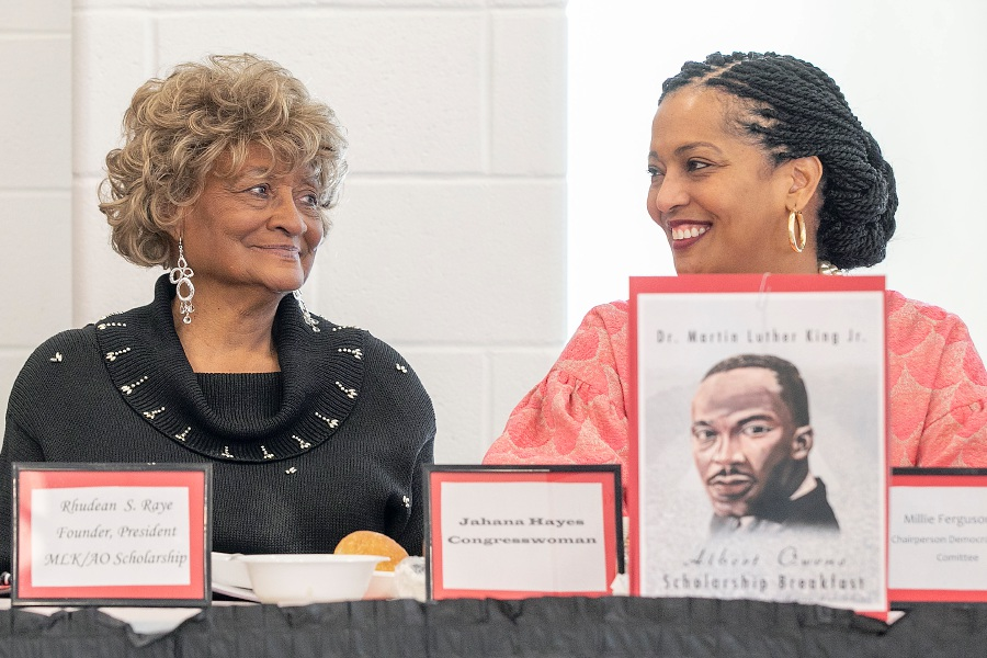Rhudean Raye, left, shares smiles with Congresswoman Jahana Hayes during the 35th annual Martin Luther King, Jr. Albert Owens Scholarship Breakfast at Maloney High School in Meriden, Mon., Jan. 20, 2020. Raye is the founder and president of the annual community multi-cultural event. Dave Zajac, Record-Journal