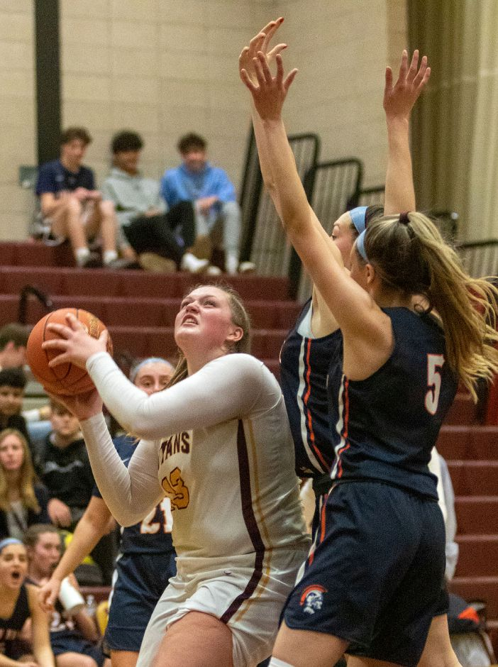 Caitlyn Hunt had a team-high 15 points for Sheehan in its 53-47 loss at home Monday to Newington. | Aaron Flaum, Record-Journal