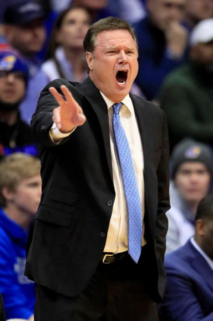 Kansas head coach Bill Self directs his team during the first half of an NCAA college basketball game against Kansas State in Lawrence, Kan., Tuesday, Jan. 21, 2020. (AP Photo/Orlin Wagner)