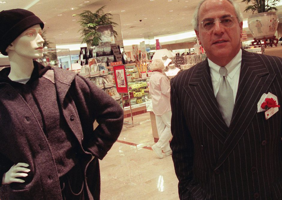 Chairman and CEO of Lord and Taylor Marshall Hilsberg, right, poses on the floor of their new Meriden Square Mall store Wednesday Sept. 1, 1999.