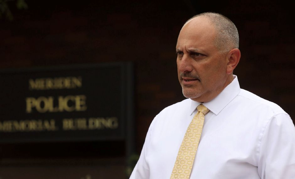 Police Lt. John Mennone addresses the media Aug. 23, 2019 outside the Meriden Police Department. He said the body found in Waterbury was identified as Perrie Mason, a mother of two reported missing in Meriden earlier this week. | Dave Zajac, Record-Journal