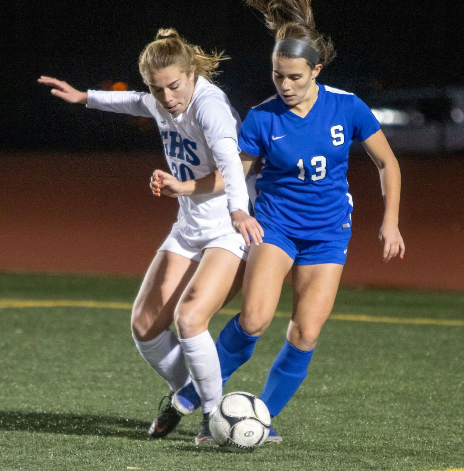Maya Wroblewski (13) had the second goal in Southington's 2-0 girls soccer victory Thursday over Farmington at Fontana Field. Allison Carr scored the first. Aaron Flaum, Record-Journal