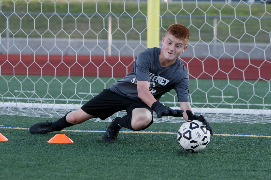 Only a sophomore, Devin Juan returns to his starting position in net for the Maloney boys soccer team. | Justin Weekes / Special to the Record-Journal