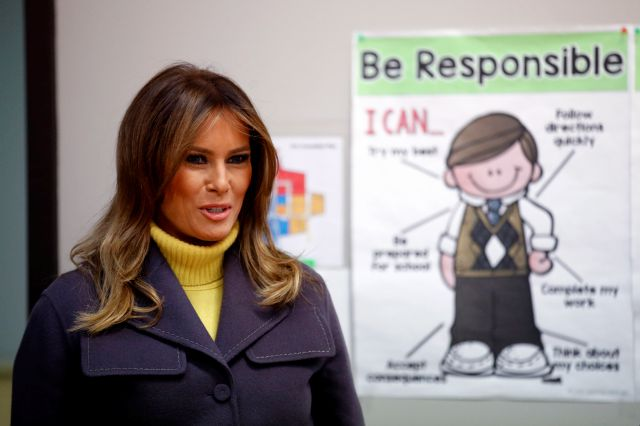First lady Melania Trump enters a classroom to visit with students at Dove School of Discovery in Tulsa, Okla., Monday, March 4, 2019, during a two-day, three-state swing to promote her Be Best campaign. (AP Photo/Patrick Semansky)