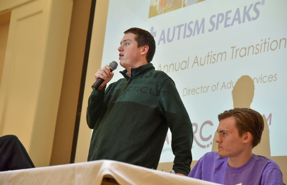 Jack Knall, a Simsbury young adult with autism, speaks on a panel about his experience transitioning from grade school at an Autism Speaks and Autism Services & Resources Connecticut forum on autism transitioning at Masonicare at Ashlar Village in Wallingford on Saturday, Feb. 8, 2020. | Bailey Wright, Record-Journal