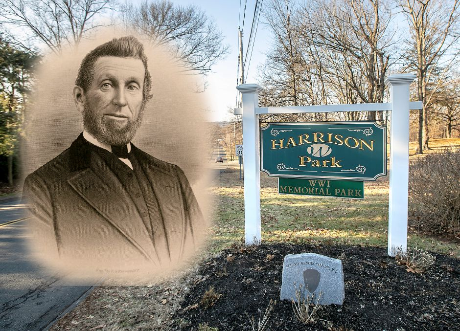 A photo illustration showing Dr. Benjamin Harrison, for whom Harrison Park was named.