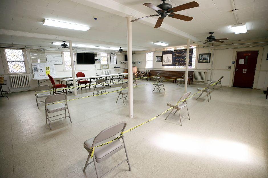 The ground level floor of Mount Hebron Baptist Church was set to be  used as a waiting area for the clinic.