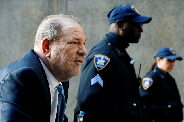 Harvey Weinstein arrives at a Manhattan courthouse as jury deliberations continue in his rape trial, Monday, Feb. 24, 2020, in New York. (AP Photo/John Minchillo)