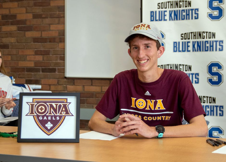 Southington High School's Matt Penna signed his National Letter of Intent to run at Iona College during a signing ceremony at the Southington Library on Wednesday, Nov. 13, 2019. Aaron Flaum, Record-Journal