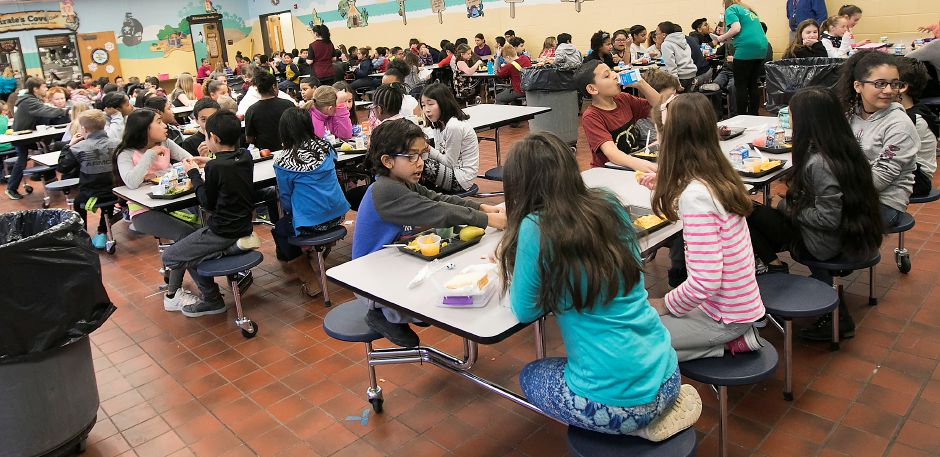 Students take lunch break at Israel Putnam Elementary School in Meriden, Thursday, Feb. 8, 2018. Dave Zajac, Record-Journal