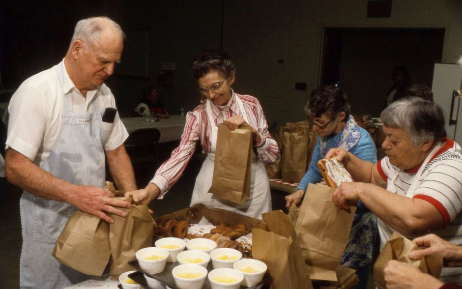 RJ file photo - Preparing meals at the Soup Kitchen in Meriden Jan. 25, 1990.