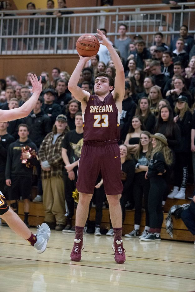 Jack McDonnell had a solid all-around game in Sheehan's season-opening victory over Shelton on Thursday night. He scored 17 points, grabbed eight rebounds, snagged five steals and blocked three shots. | Record-Journal file photo