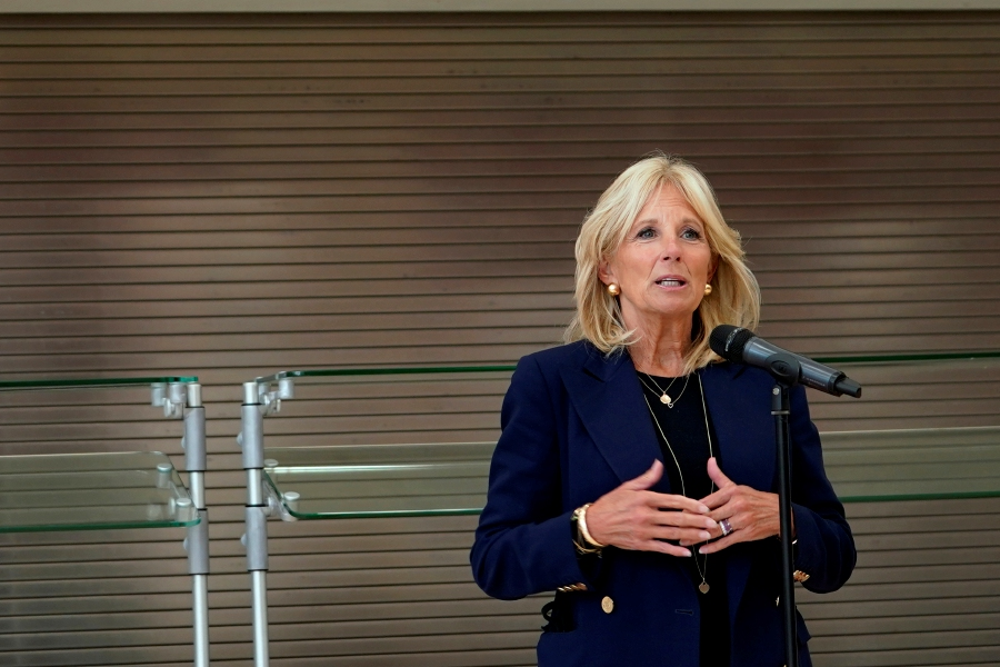 First lady Jill Biden is scheduled to visit Meriden next week. Plans for the visit have yet to be announced. Biden is seen here talking with the media after a visit to a Minnesota Elementary School, Sept.9, 2020. (AP Photo/Jim Mone)