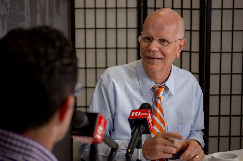 Democrat Kevin Lembo talks Tuesday with Record-Journal editor Mike Savino about running for re-election.