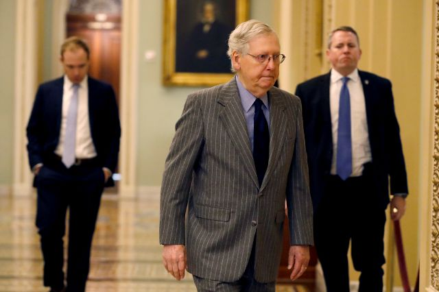 Senate Majority Leader Mitch McConnell, R-Ky., arrives at the Capitol, in Washington, Wednesday, Jan. 15, 2020. Speaker of the House Nancy Pelosi, D-Calif., is set to announce the House prosecutors for the Senate impeachment trial of President Donald Trump. (AP Photo/Julio Cortez)